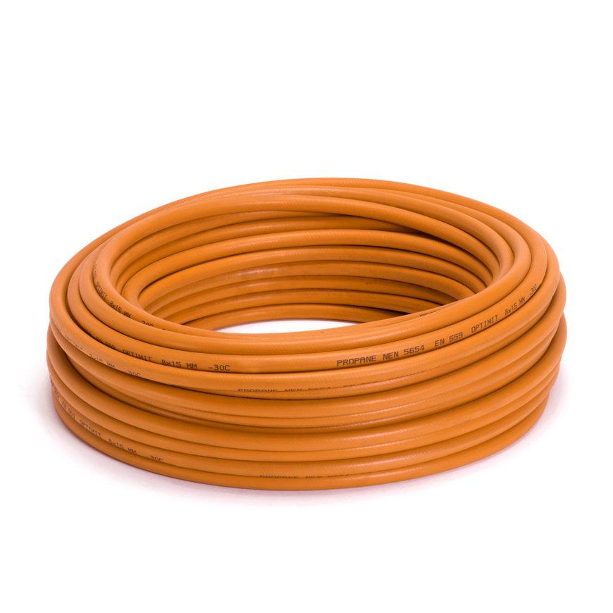 Optimit oranje gasslang per meter