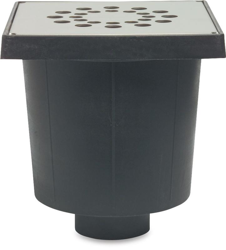 Vloerput 20x20cm RVS deksel 75mm onderaa